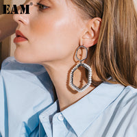 WKOUD EAM Jewelry / 2019 New Fashion Temperament Rhinestone Faux Pearl Circle Drop Earrings Women's Accessories S#R1727