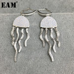 WKOUD EAM Jewelry / 2019 New Fashion Temperament S925 Silver Micro-inlaid Jellyfish Earrings Women's Accessories S#R1547