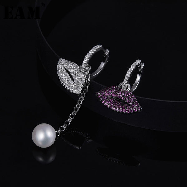 WKOUD EAM Jewelry / 2019 New Fashion Temperament S925 Sterling Silver Asymmetric Lip Earrings Women's Accessories S#R1538