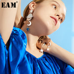 WKOUD EAM Jewelry / 2019 New Fashion Temperament Star Moon Pendant Asymmetric Long Earrings Women's Accessories S#R116610