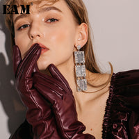 WKOUD EAM Jewelry / 2019 New Fashion Temperament Zircon Inlaid Geometric Earrings Women's Accessories S#R169910