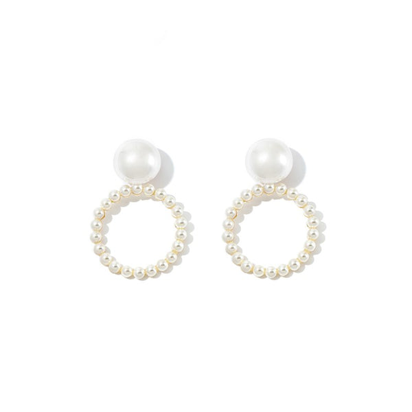 WKOUD EAM Jewelry / 2019 New Fashion White Atmospheric Imitation Pearl Circle Pendant Earrings Women's Accessories S#R128700