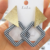 WKOUD EAM Jewelry / 2019 New Fashion White Exaggerated Plaid Pendant Metal Triangle Dangle Earrings Women's Accessories S#R1021