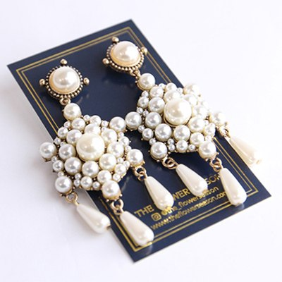 WKOUD EAM Jewelry / 2019 New Fashion White Imitation Pearl Drop Tassel Exaggerated Earrings Women's Accessories S#R1662