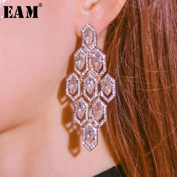 WKOUD EAM Jewelry / 2019 New Fashion Zircon Inlaid Geometric Exaggerated Personality Earrings Women's Accessories S#R161608