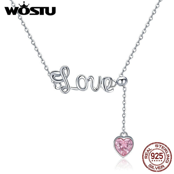 WOSTU Hot Sale 925 Sterling Silver Romantic Letter Love Pink Zircon Pendant Necklace For Women S925 Silver Party Jewelry CQN288