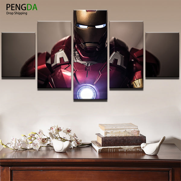Wall Art Painting For Home Decorations HD Printed Canvas Poster 5 Pieces Superhero Movie Iron Man Modular Pictures Framed PENGDA