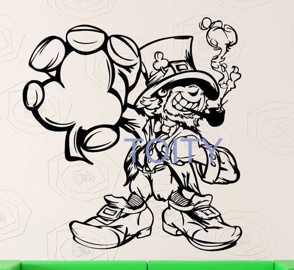 Wall Sticker Vinyl Decal Leprechaun Ireland Irish Shamrock Celt Mascot Home Interior Nursery Bedroom Art Murals H61cm x W57cm