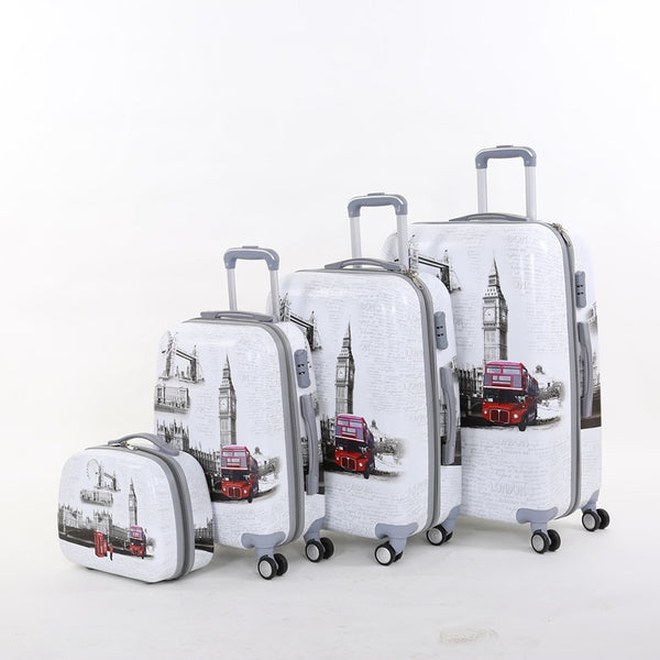 Wholesale!14 20 24 28inches(4pieces/set) europe fashion style pc hardside trolley luggage bags sets,windmill travel luggage set