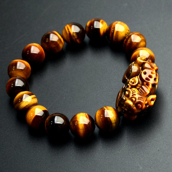 Wholesale JoursNeige Natural Yellow Tiger Eye Stone Bracelets 12mm Round Beads Pi Xiu Bracelet for Men Women Wristband Jewelry