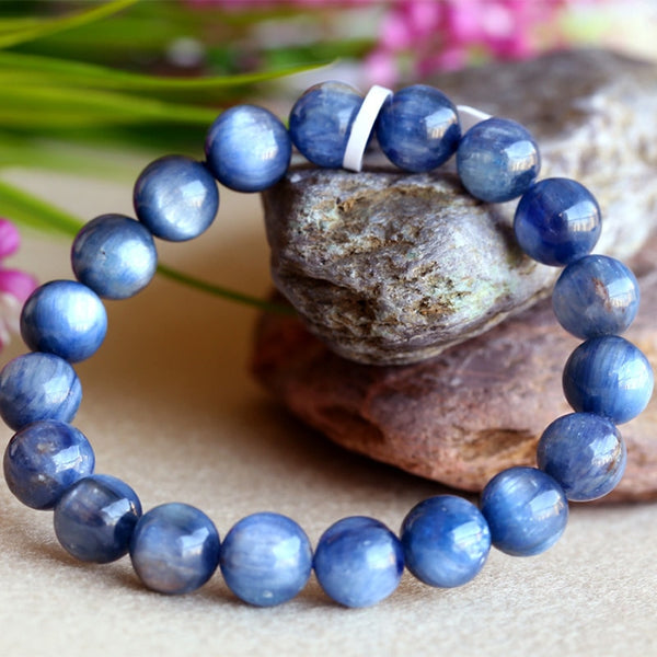Wholesale Natural Genuine Blue Kyanite Men Stretch Finish Bracelet Round Beads 03827
