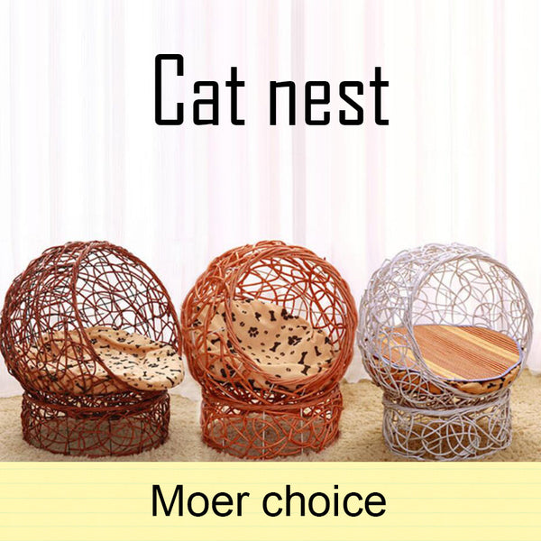 Wicker Weave Pet Cat Dog Bed Beautiful Kitten House Soft Mount Disassembly Cats Puppy Teddy Cats Nest Pet Supplies Accessories