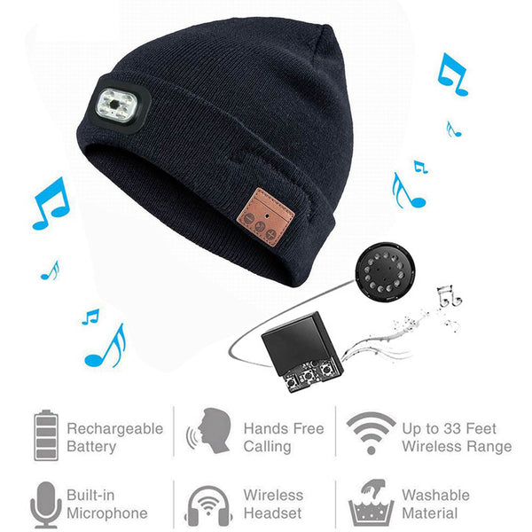 Wireless Bluetooth Beanie Hat with LED Headlamp USB Unisex Musical Cap for Running Skiing Hiking Camping Cycling,Hunting hat