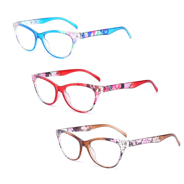 Women Cat Eye Reading Glasses Vintage Reader Fashion Flower Print +1.0-+4.0
