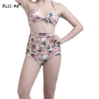 Women's Swimming Suit High Waist Bikini 2018 Women Swimsuit Printed Bathing Suit Lady's Swimwear Halter Brazilian Bikinis