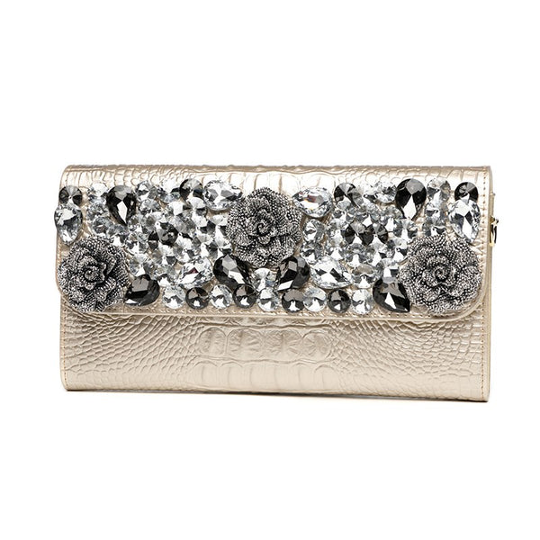 Womens Banquet Diamond Flowers Clutch Wallet Ladies Long Purse Shoulder Bag Handbag Alligator Genuine Leather Clutches Golden