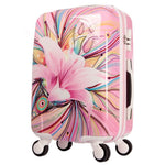 Womens Hard Shell Luggage Girls Pink lily Trolley case Valise Rolling Luggages Expandable Lightweight Suitcase 20 Inch TSA Lock