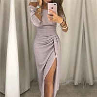 Womens off shoulder party dress women Fashion 2018 high slit peplum dresses autumn Elegant women's bodycon dress vestido