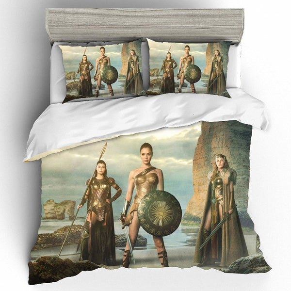 Wonder Woman Bedding Set Cotton Queen King Size Printing Bedding Sets Duvet Cover Bed Sheets Home Textile Pillowcases Bed Linen
