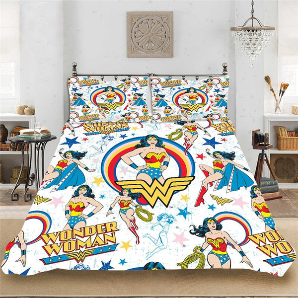 Wonder Woman Superhero DC Cartoon Soft Bedding set Bedclothes Include Duvet Cover Pillowcase Print Home Textile Bed Linens