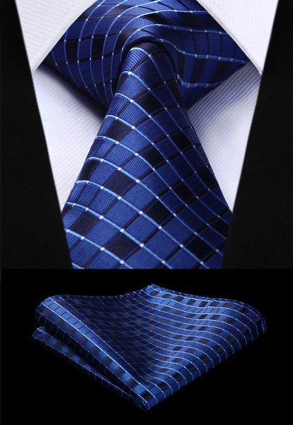 Woven Men Tie Fashion Navy Blue Check Plaid Necktie Handkerchief Set#TC717V8S Party Wedding Classic Pocket Square Tie