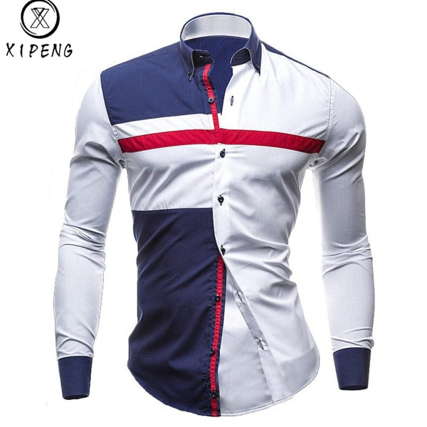 XIPENG Brand New Spring Men Casual shirt Fashion Patchwork Long Sleeve Mens Shirts Slim Fit Dress Shirt Camisa Men Clothes M-XXL