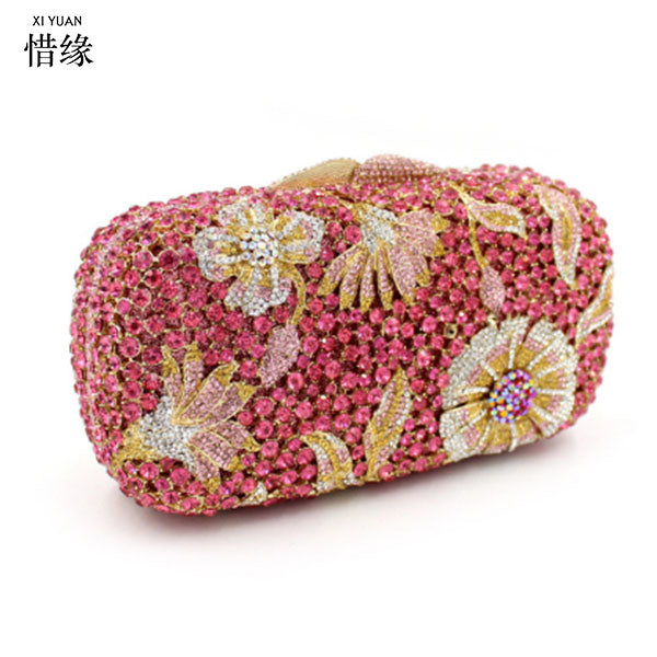 XIYUAN BRAND red Diamond Cluthes Long chain clutch Bag Ladies Rhinestone pink Evening Bag Party Banquet Evening Clutch purse
