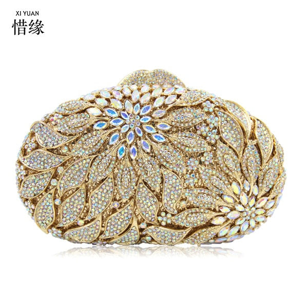 XIYUAN BRAND silver evening bags Luxury crystal Clutch bag gold rhinestone party purse Female pochette women wedding Day cluthes