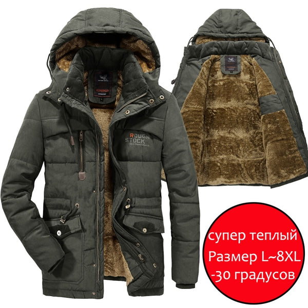 YIHUAHOO Men Winter Jacket 6XL 7XL 8XL Thick Warm Parka Fleece Fur Hooded Military Jacket Coat Pockets Windbreaker Jacket Men