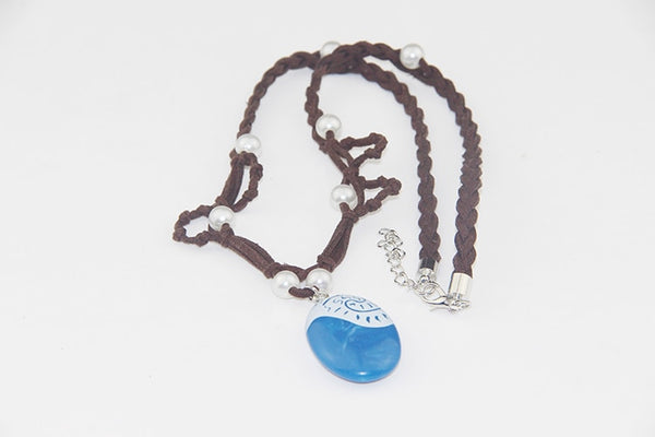 ZRM 20pcs/lot Fashion Jewelry Movie Charm Moana Ocean Rope Chain Necklaces Blue Stone Pendants Leather Suede Choker Necklace