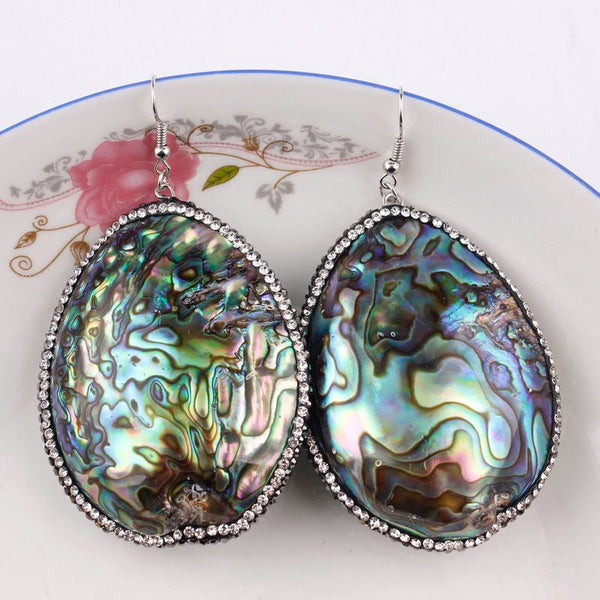 ZWPON 2019 New Teardrop Natural Abalone Shell Dangle Earrings for Women Fashion Silver Large Rhinestone Earrings Ethnic Jewelry