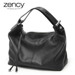 Zency 100% Genuine Leather OL Style Women Tote Bag Fashion Lady Shoulder Bags Classic Handbag Satchel Crossbody Messenger Purse