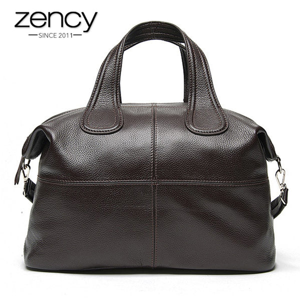 Zency 100% Genuine Leather Women Handbag Coffee Ladies Tote Bags Classic Black Messenger Crossbody Purse Boston Shoulder Bag