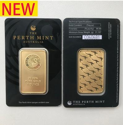 Australia perth mint 999 fine 24k gold plated bar coins quality gold bullion Metal crafts Collections souvenirs business gifts