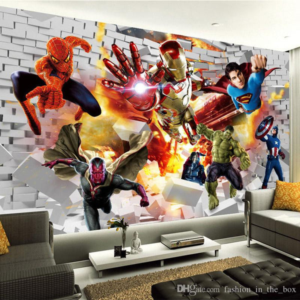 Avengers Wallpaper 3D photo wallpaper Hulk Iron man Superman Custom Wall Mural Boy Kid Bedroom Bricks wallpaper For walls TV backdrop Decor