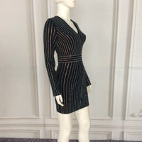 Luxury Long Sleeve Winter Dress Women Sexy Black Dresses With Diamond Strips O Neck Mid Calf Celebrity Party bodycon Dress