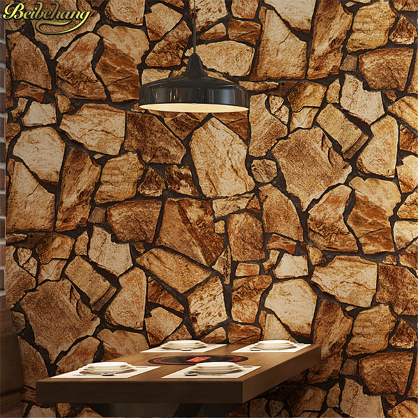 beibehang Retro nostalgic culture stone wall paper roll antique stone bar restaurant clothing store wallpapers for living room
