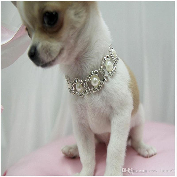 Bling Rhinestone Pearl Dog Collar Diamond Necklaces