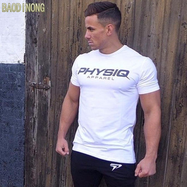 brand Men cotton t shirts fashion Casual gyms Fitness Bodybuilding workout Short sleeves tees summer style male tops