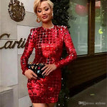 Brand Designer Luxury Sequins Party Dresses Fashion Grid Long Sleeve Backless