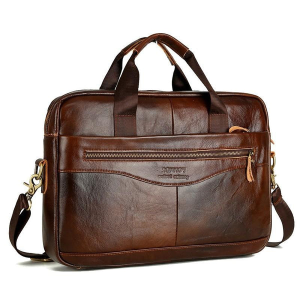 Cowhide Leather Briefcase Mens Genuine Leather Handbags Crossbody Bags Men's High Quality Luxury Business Messenger Bag