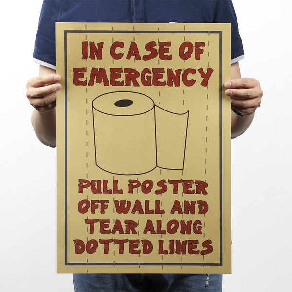 Rolls Paper Wall Poster Vintage toilet home and Cave decor sticker.