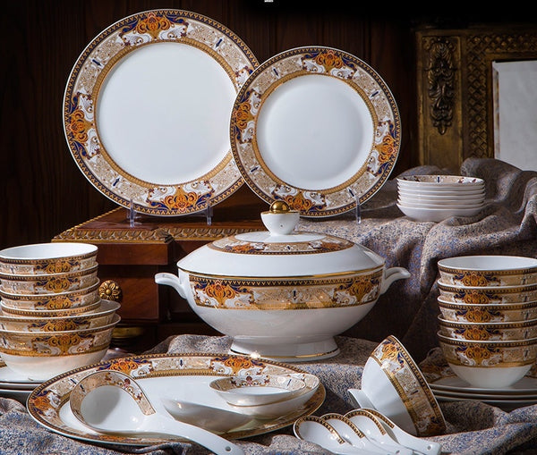 cutlery European Cutlery Set, Bowls Dishes, Sleeves, Jingdezhen High-grade Bone Porcelain Bowls and Bowls Household Combination
