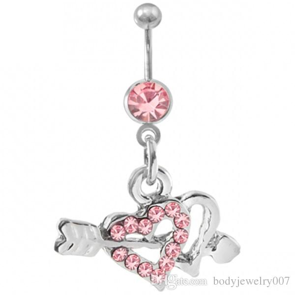 D0361( 2 colors ) two hearts Belly Button Navel Rings Body Piercing Jewelry (10PCS/LOT)JFB-3305 Dangle button rings