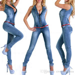 Denim jumpsuits jeans European style Women Jumpsuit Denim Overalls Shirt Rompers Girls Pants Jeans S-XL Bodysuit