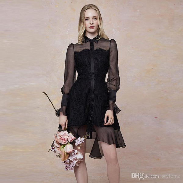 Designer Women Panelled Lace Shirt Dresses Turn Down Collar Long Mesh Sleeve See Through Black Party Dresses