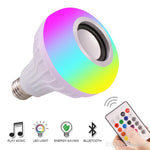 E27 Smart LED Light RGB Wireless Bluetooth Speakers Bulb Lamp Music Playing Dimmable 12W Music Player Audio with 24 Keys Remote Contro