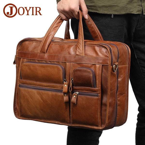 Fashion Genuine Briefcases mens Leather handbag Laptop messenger Casual Business Tote Bags Shoulder Crossbody Men's Large wholesale Trave