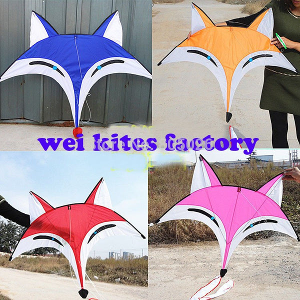free shipping high quality new design 2m fox kite 5pcs/lot with handle line outdoor toys weifang kite factory kevlar parachute