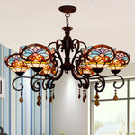 heart baroque dining-room of Europe type glass droplight sitting room atmosphere long bar 6 + 1 crystal chandelier